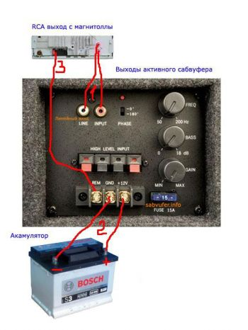 как подключить сабвуфер к магнитоле