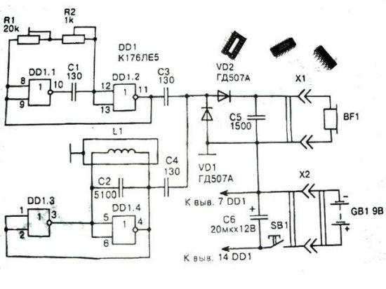схема металлоискателя на биениях